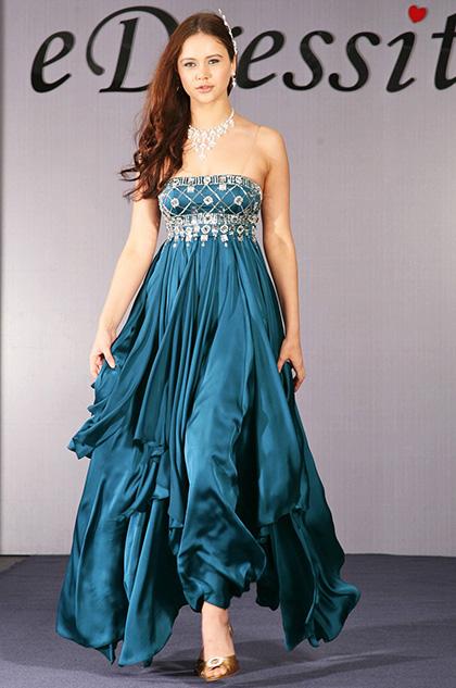 eDressit Elegant trägerlos Diamanten und Perlen Abendkleid (00091405)