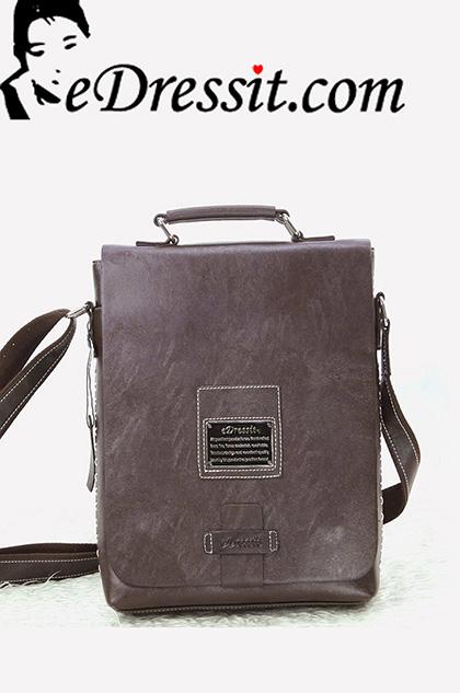 eDressit мужской кожаный портфель через плечо(08080120)
