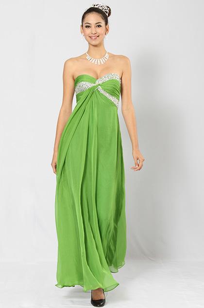 eDressit Elegant Grün Trägerlos Diamanten und Perlen Abendkleid (00102004)