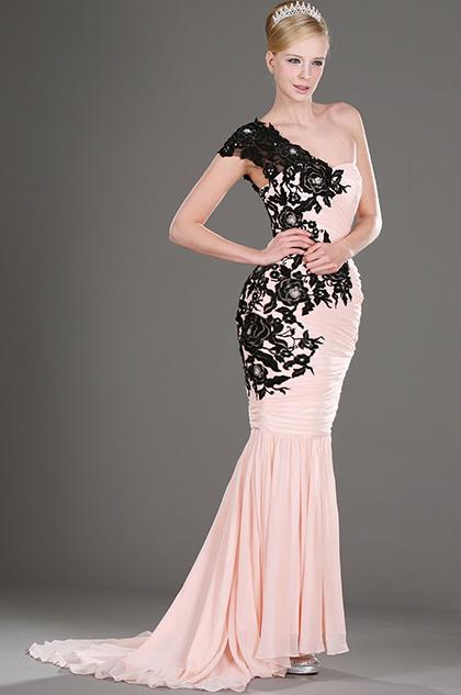 eDressit Ein-Schulter Prächtig Elegant Rosa und schwarz Lace  Abendkleid (00106001)