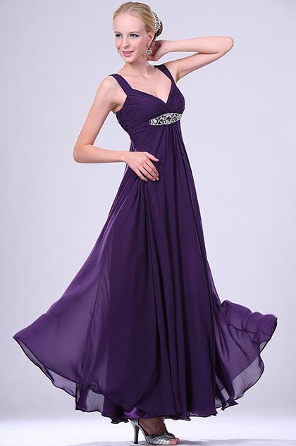 eDressit  New Elegant Purple Beaded  V-neck Evening Dress (00108606)