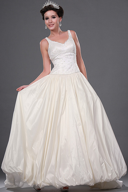 eDressit New V-cut Shiny Beaded Wedding Gown with Lace Bodice (01111407)