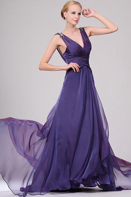 eDressit Sexy V-cut Beaded Evening Dress (00109406)