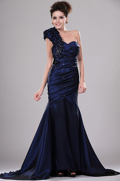 eDressit One Shoulder Pleated Evening Gown (00113205)