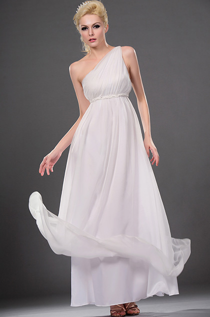 eDressit Elegant White One Shoulder Evening Dress (00112707)