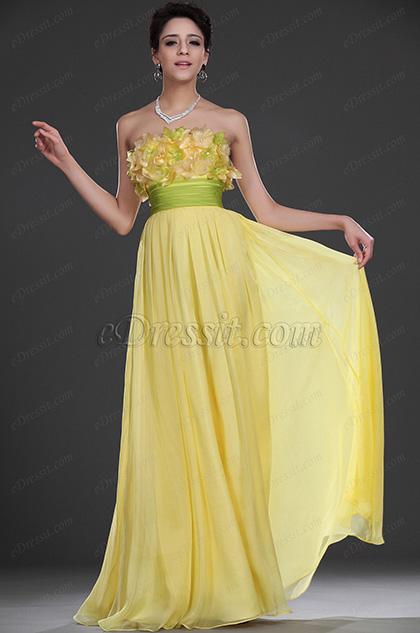 eDressit Neu Scharmant Trägerlos Gelb Abendkleid (00107603)