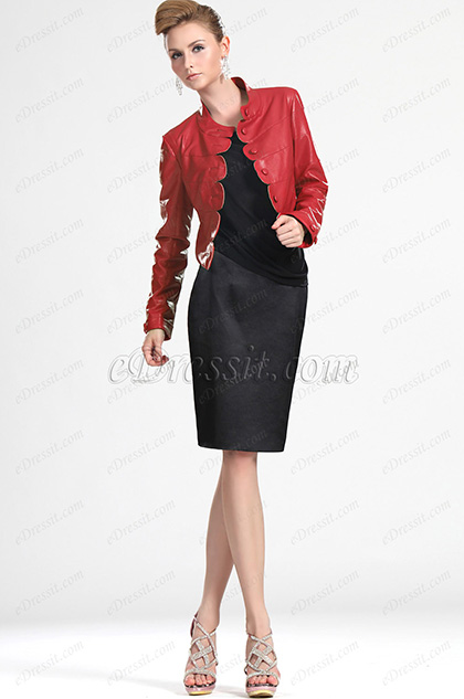 eDressit New Lady Red Leather Short Jacket Coat (03111702)