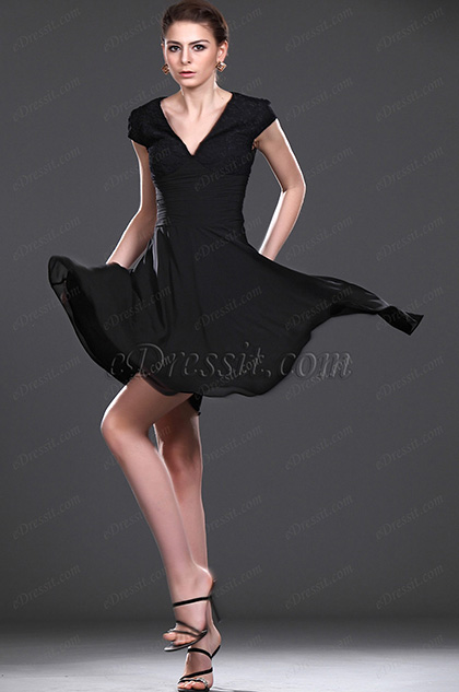 eDressit New V-neck Black Lace Party Dress (04114300)