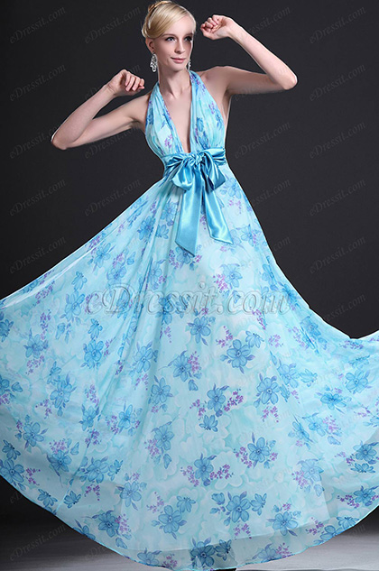 eDressit New Elegant Halter Floral Evening Dress (00099205)