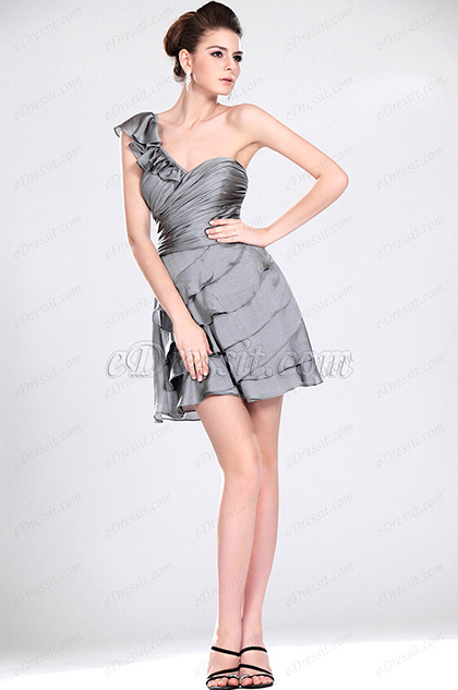 eDressit New Grey One Shoulder Party Dress (04116608)