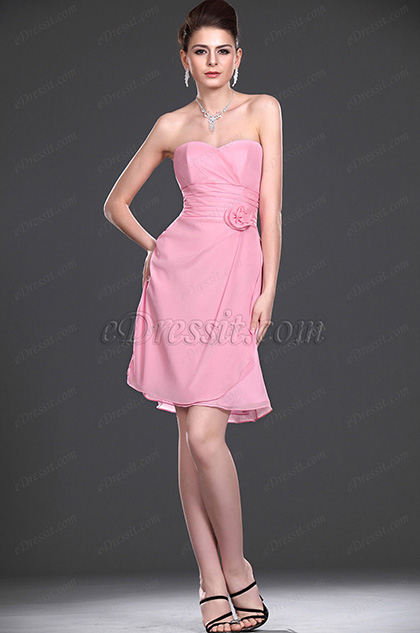 eDressit New Adoral Strapless Pink Bridesmaid Dress (07110501)