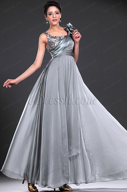 eDressit New Glamouring Sequins Grey Evening Dress (00117208)