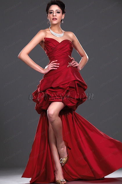 eDressit New Red Strapless Party Dress with detachable train (04115002)