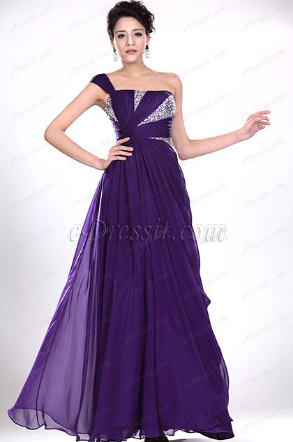 eDressit Fabulous Purple One Shoulder Evening Dress (00118906)