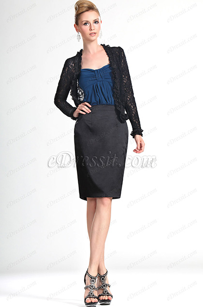 eDressit New Lady Black Lace Short Jacket Coat (03111600)