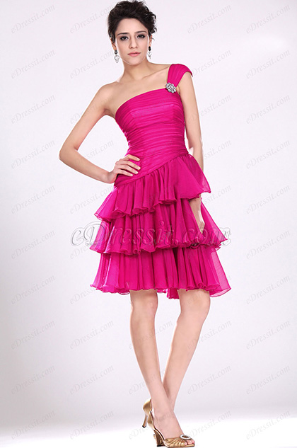 eDressit New Adoral Pink One Shoulder Party Dress (04116812)