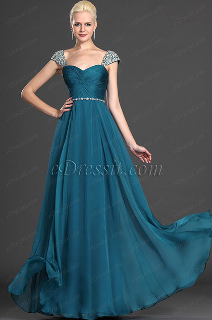 eDressit Alluring Cap Sleeves Blue Evening Dress Formal Gown(00125605)