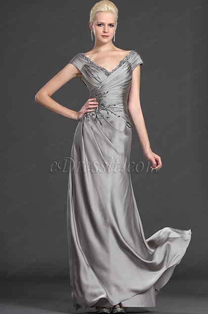 eDressit Eleganz Auf Schulter Grau Abendkleid (26121508)