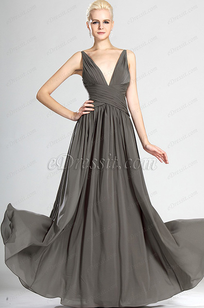 Alluring V-cut Gray Evening Dress Bridesmaid Dress (W00124108)