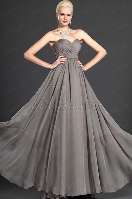 eDressit  Gris Escote de Cariño Sin Tirante Vestido de Noche Largo (W00124608)