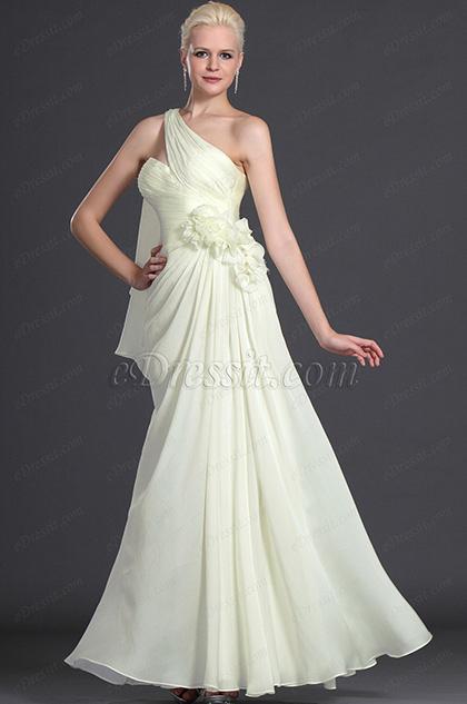 eDressit Elegant Ein Schulter mit Blumen Abendkleid (00126207)
