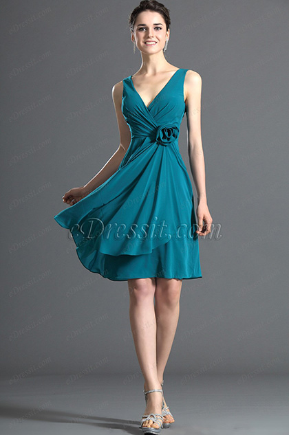 eDressit Scharmant V-Ausschnitt Brautjungfer's Kleid (07120705)