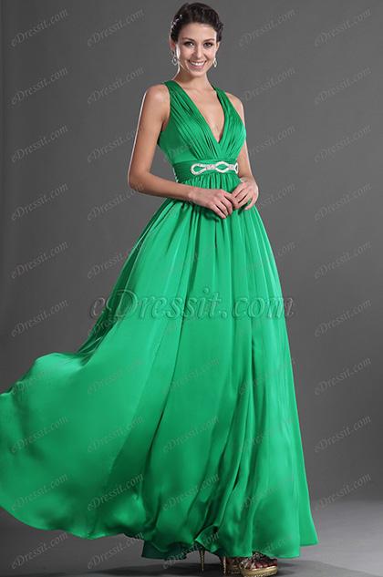 eDressit Verde Escote en V Sexual Vestido de Fiesta Largo (00129204)