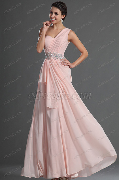eDressit Glamouröse Hellrosa Abendkleid mit Einzelnschulter (00129301)