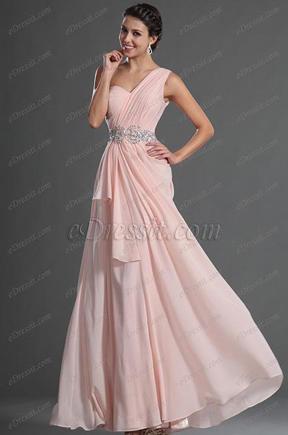 eDressit Glamorous Light Pink One Shoulder Evening Dress (00129301)