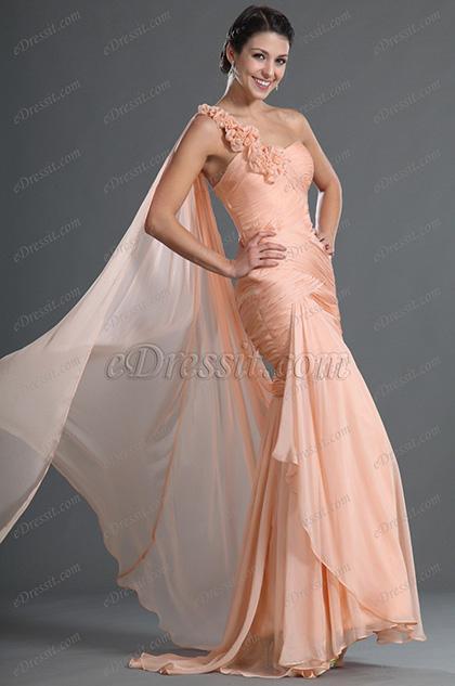 eDressit Fabuloso Solo Hombro Vestido de Necho con Flores (02122601)