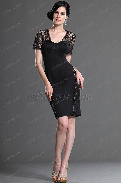 eDressit Amazing Black Lace Sleeves Mother of the Bride Dress (26126000)