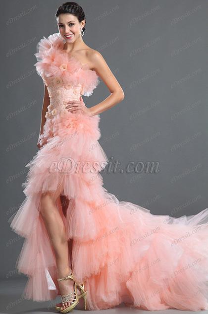 eDressit Solo Hombro Rosadas Flores Vestido de Noche (02121401)