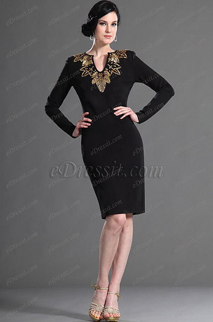 eDressit V-Ausschnitt Schwarz Cocktail Kleid Arbeitkleid (03123300)