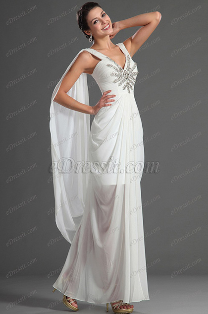 eDressit Sexy V-Cut Neckline Wedding Gown (01121507)