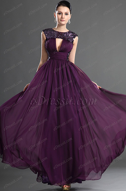 eDressit Plunging V-cut Purple Evening Dress (02123106)