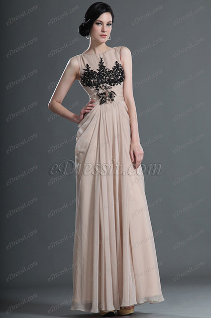 eDressit Elegant Two Shoulders Evening Dress with Black Lace Decorated (02121714)