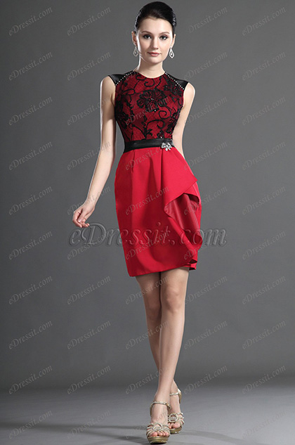 eDressit Elegant  Sleeveless Red Lace Mother of the Bride Dress (26124802)