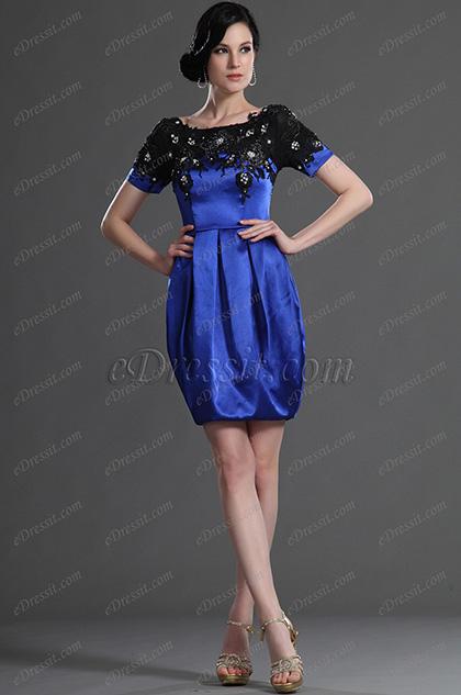 eDressit Cortas Mangas Azul Vestido de Fiesta Vestido de Coctel (26125405)