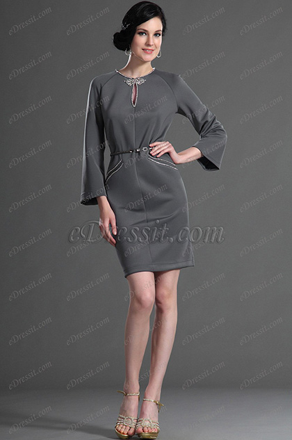 eDressit Gorgeous Grey Party Dress Day Dress (03123608)