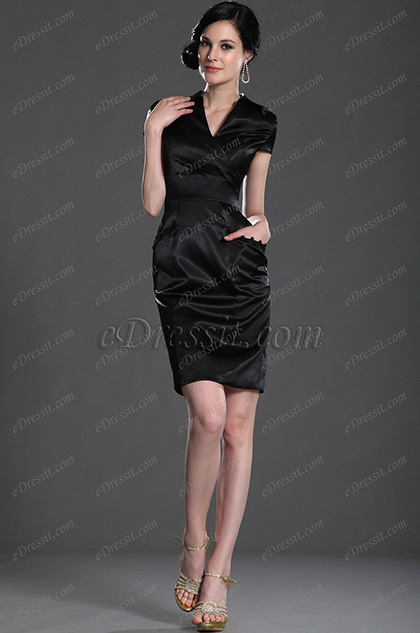 eDressit Elegant Black Sleeves Mother of the Bride Dress (26127200)