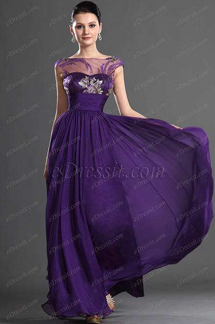eDressit  Elegant Purple Pleated Evening Dress (02120206)