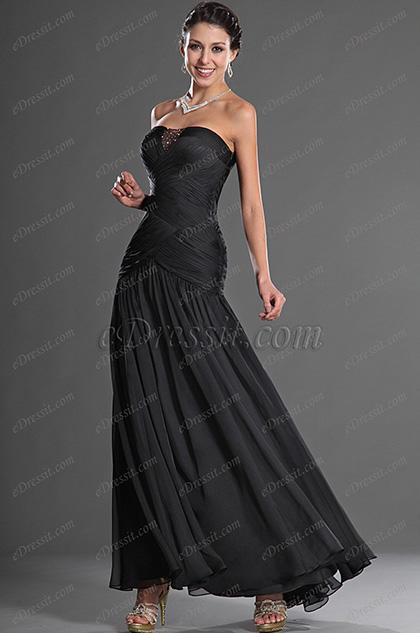 eDressit Strapless Black Elegant Evening Dress (00129900)