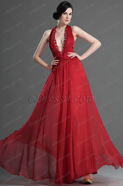 eDressit Sexy Halter Deep V cut Red Evening Dress (00128502)