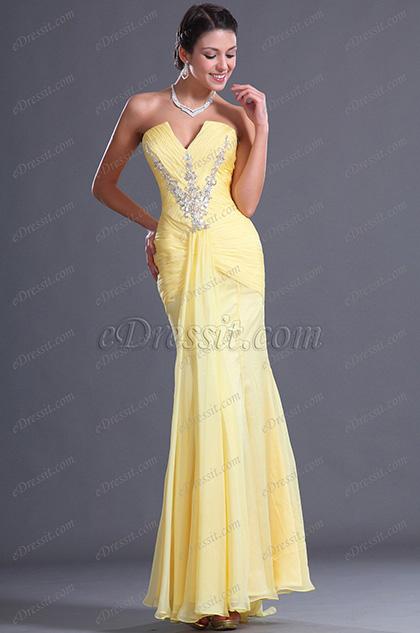 eDressit  Charming Trägerlos  V-Ausschnitt Abendkleid (00128203)