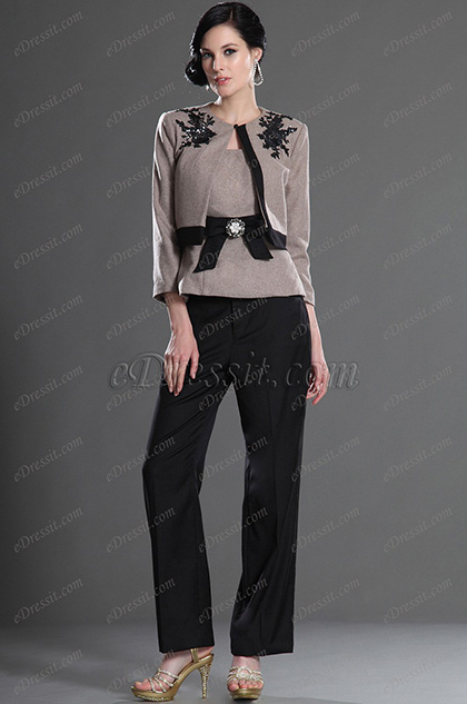 eDressit Elegant Schwarz Spitze Anzug 3 Stücke (26127108)