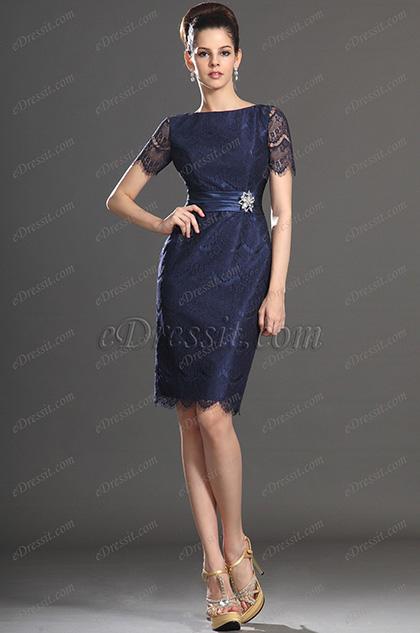 eDressit New Arrival Short Sleeves Dark Blue Mother of the Bride Dress (26132505)