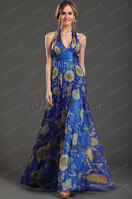 eDressit New Printed Sexy Halter V-neckline Evening Dress (00099605)