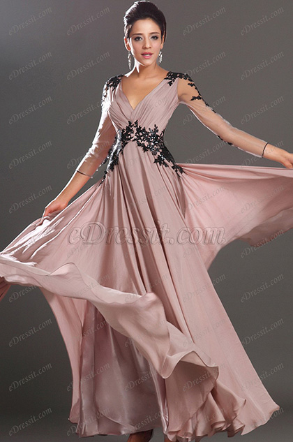 eDressit  Sexy V-neck Black Lace Evening Dress