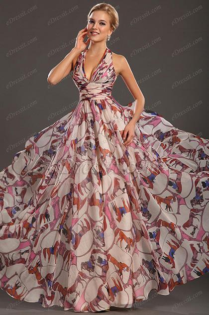 eDressit  Elegante Halter Estampado Vestido de Noche  Largo (00132668)