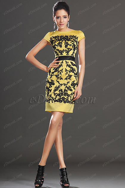 eDressit New Elegant Cap Sleeves Overlace Party Dress Day Dress (03130603)
